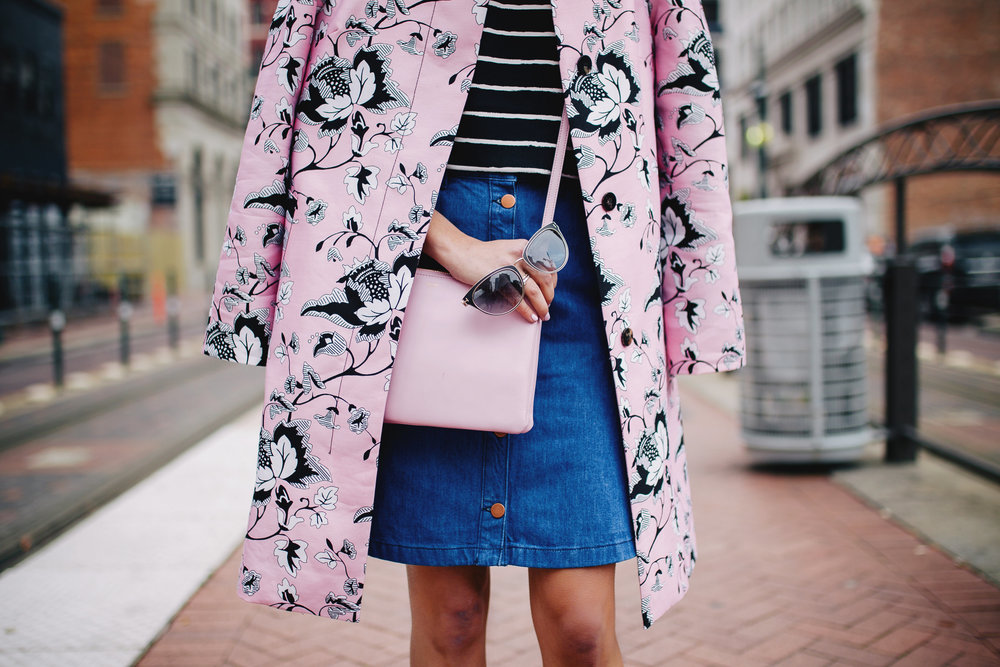 Pink for spring - pink Celine cross body with a pink statement coat