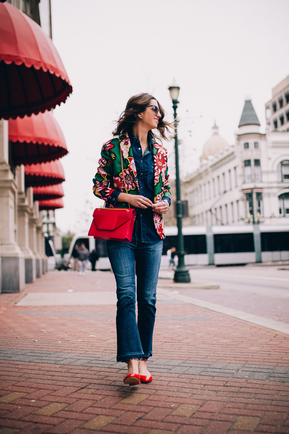 Ctopped flare jeans and floral jacket