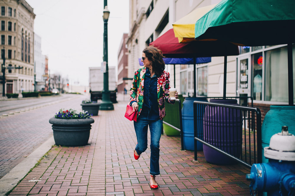 Cropped flare jean and floral jacket