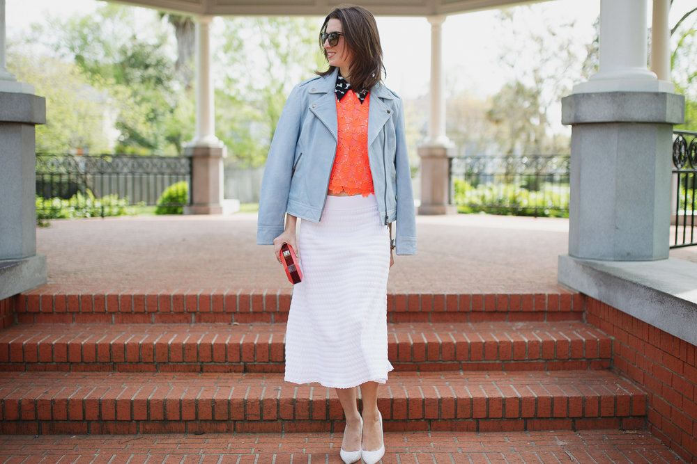 A.L.C. neon lace crop top and white midi with Pam & Gela blue biker