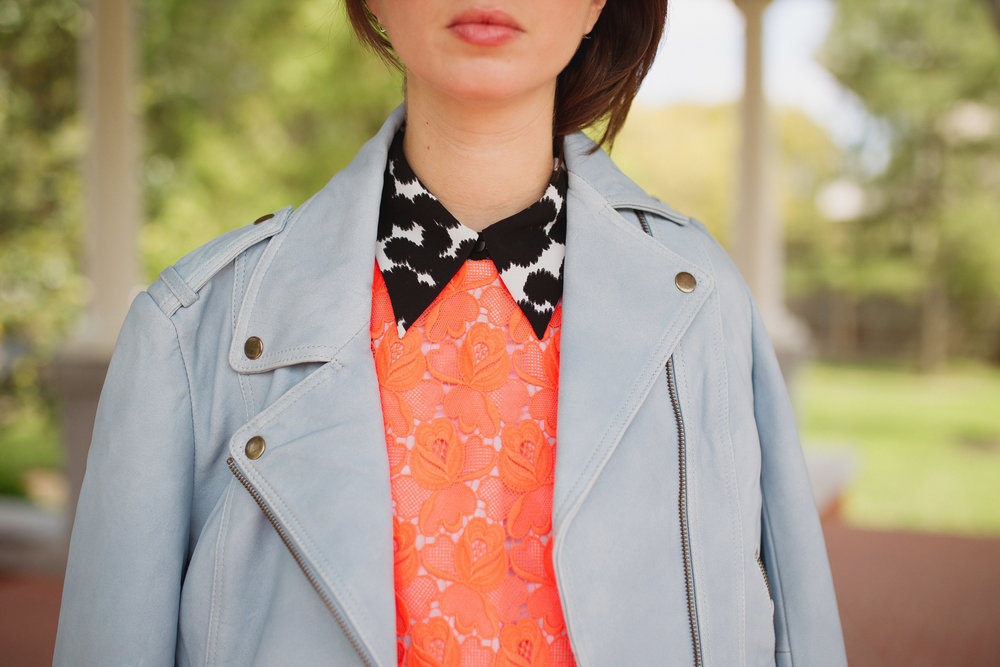 A.L.C. lace top layered over a collared one. Topped with the perfect baby blue Pam & Gela moto