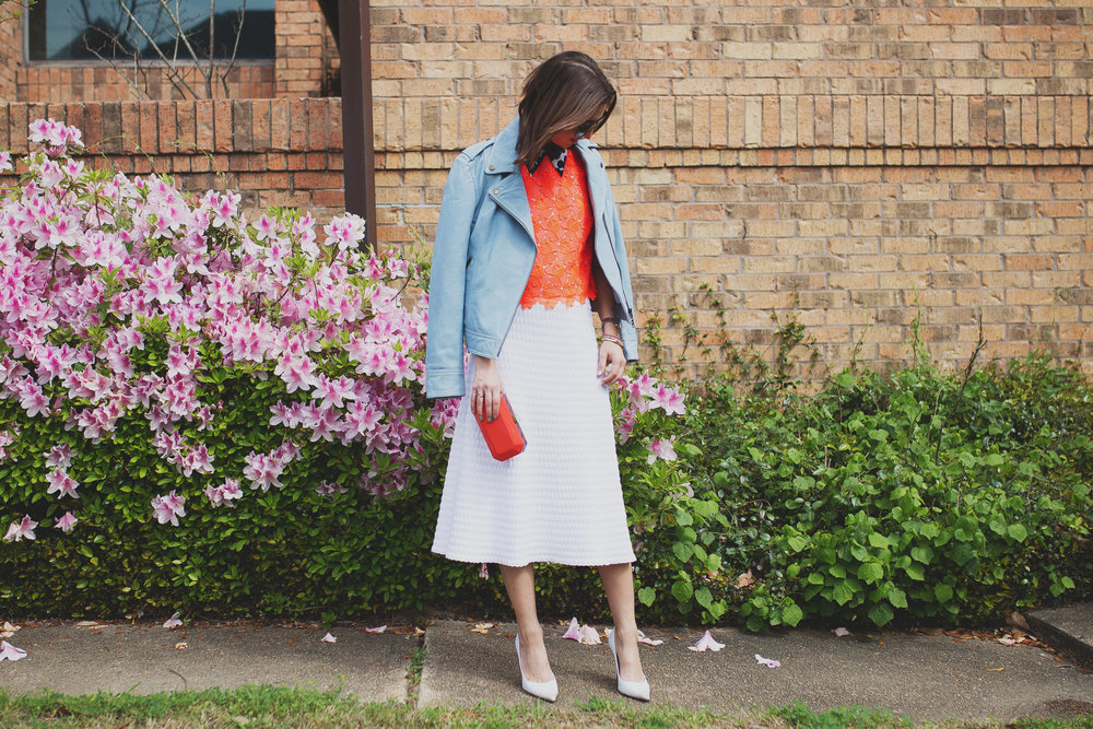 A.L.C. neon lace crop top and collared shirt and midi skirt and Pam & Gela blue biker