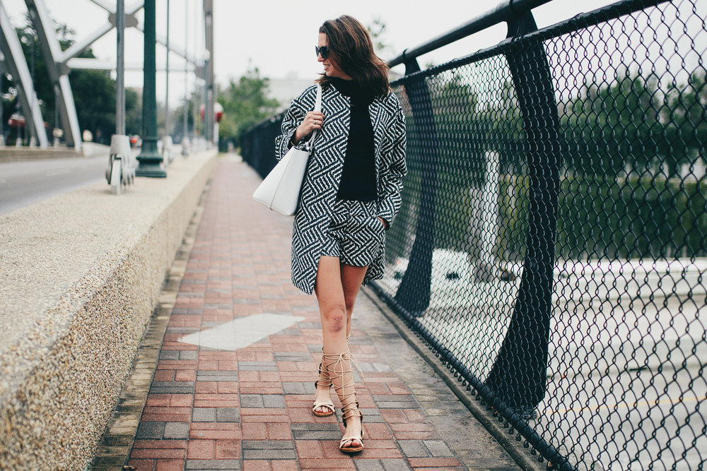 Alice + Olivian patterened shorts and coat with lace-up goddess sandals