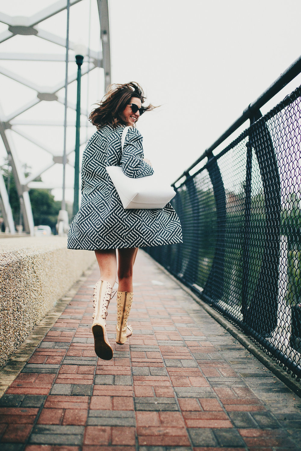 Alice + Olivian patterned coat with lace-up goddess sandals
