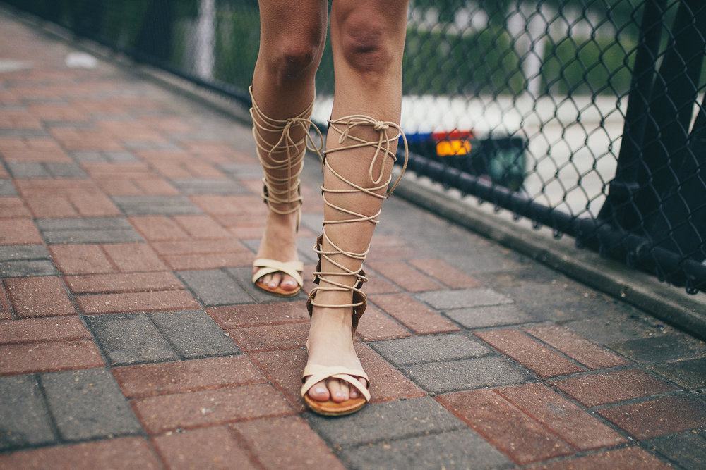 Lace up goddess sandals