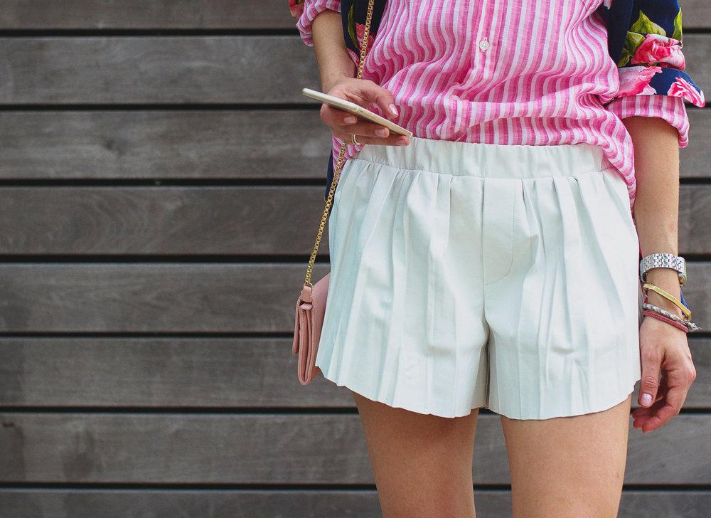 Rag & Bone pleated white leather shorts