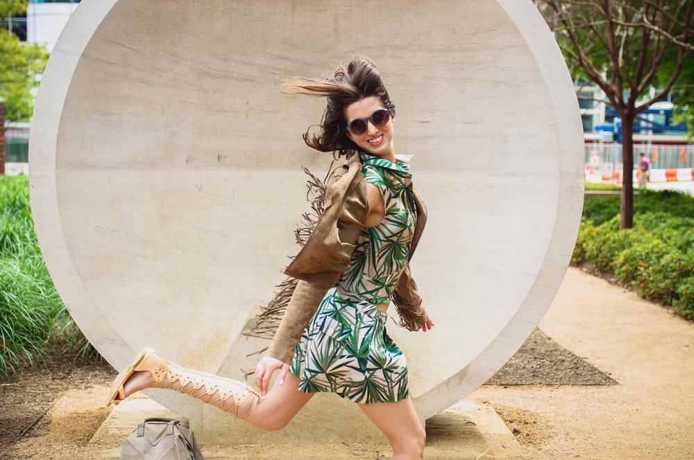 Elle Sasson palm print short and top, suede fringe biker with goddess sandals