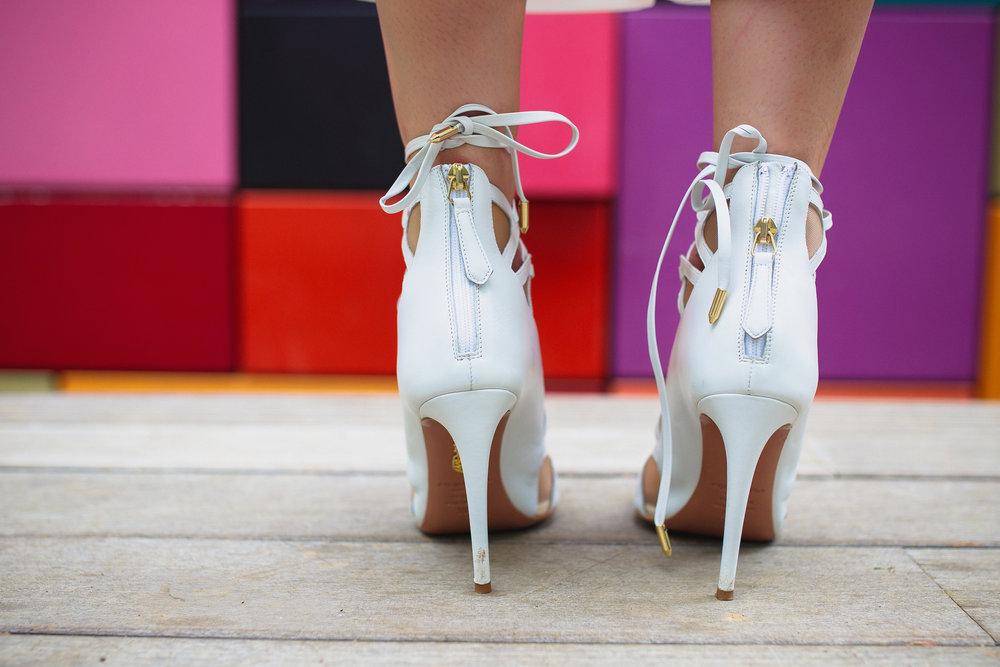 Aquazurra 'French Lover' stripy zip up heel