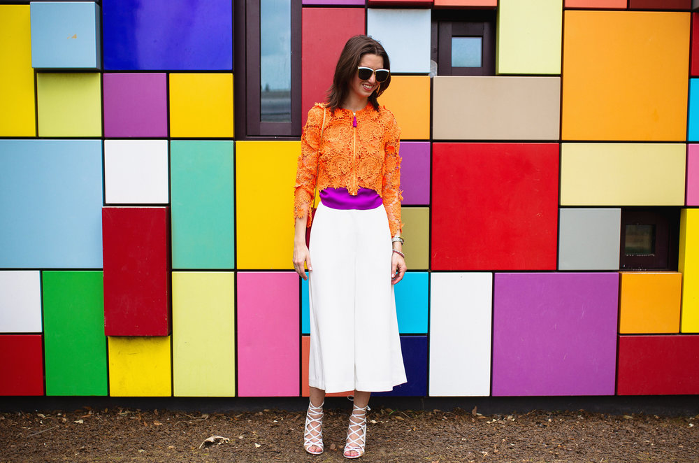 Elizabeth and James culottes with House Of Holland orange floral crochet Jacket
