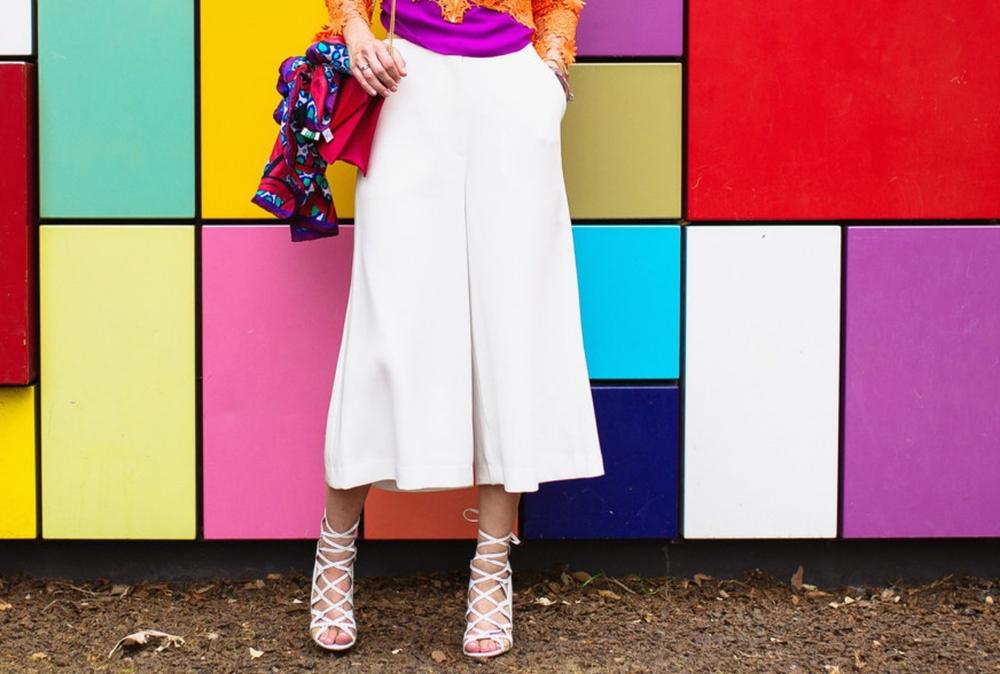 White culottes and Aquazzura sandals
