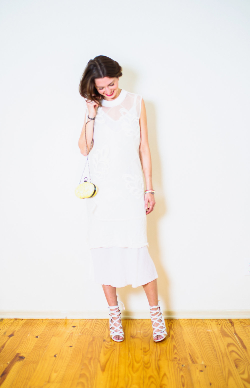 All white 3.1 layered Phillip Lim tunic and slips