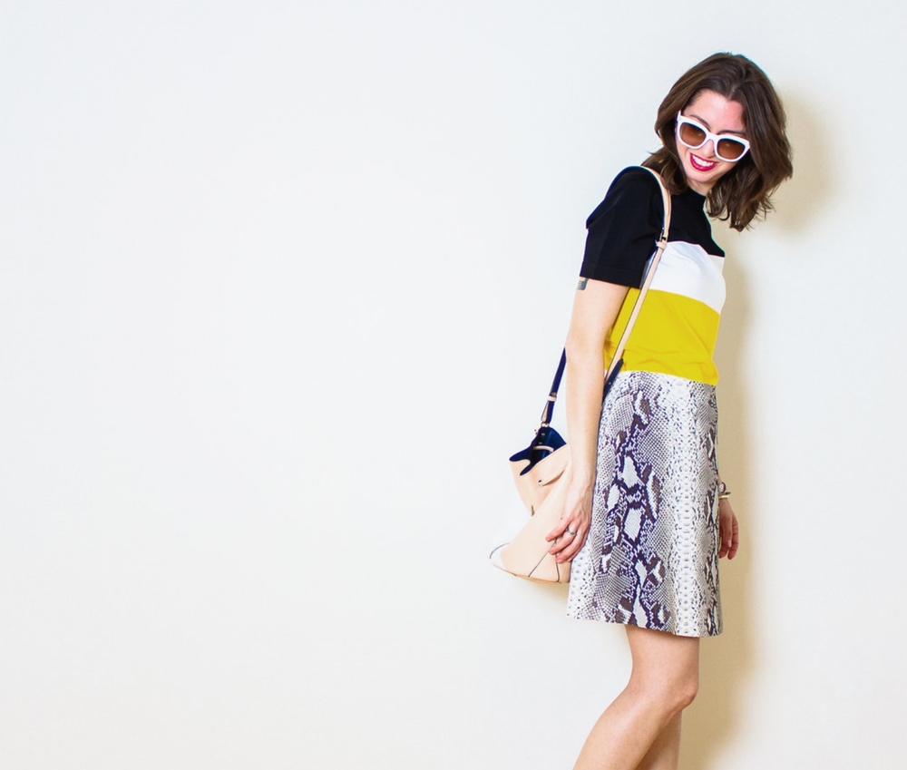 Carven color blocked knit tee and snake skirt