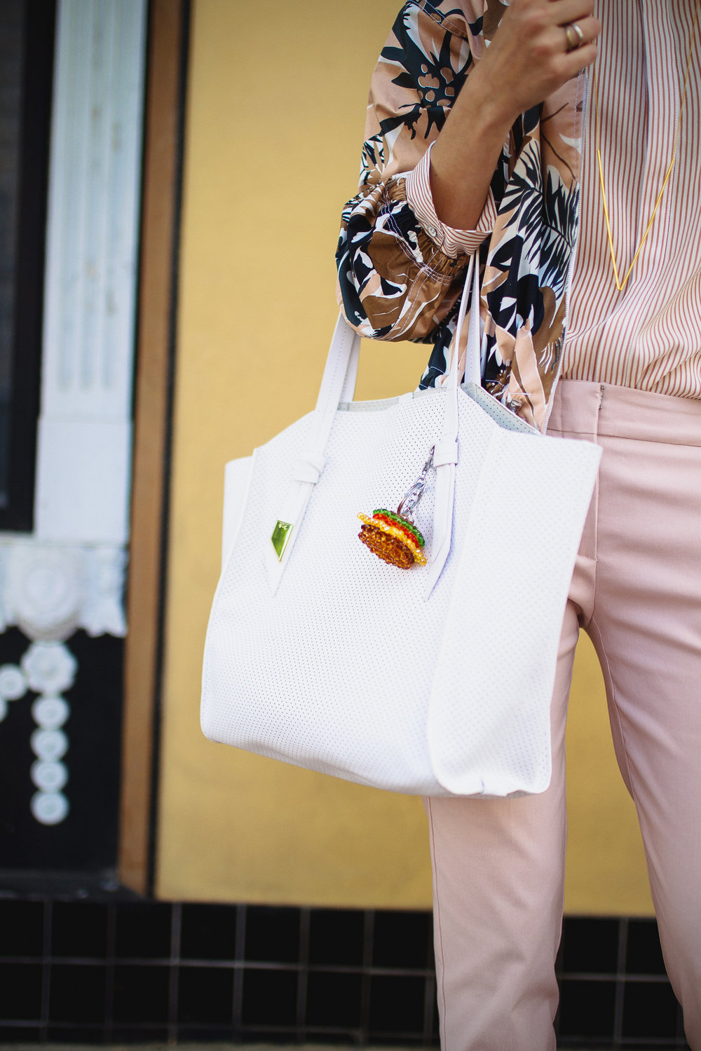Foley + Corinna tote with House of Holland hamburger charm