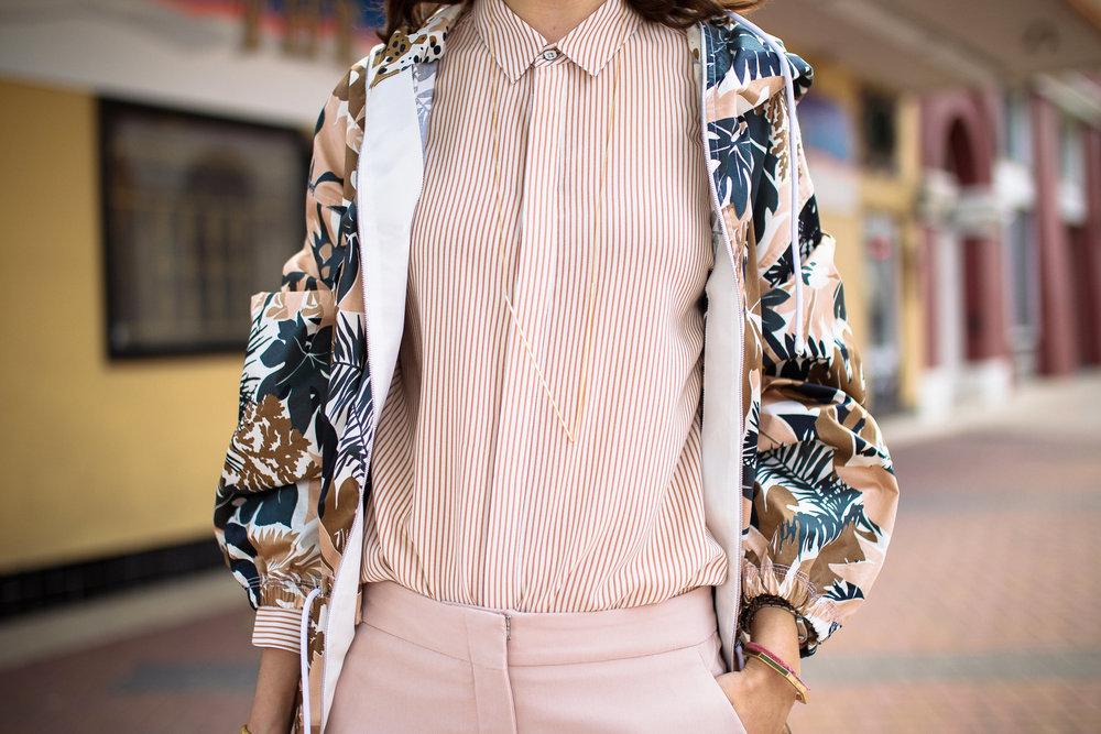Rag & Bone floral jacket, pinstriped shirt with Gorjana tube necklace