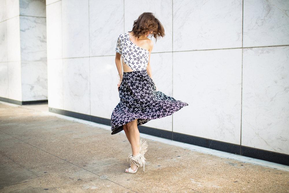 Tanya Taylor one shoulder printed dress with fringe heels