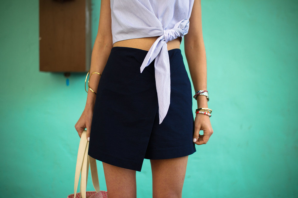 Tibi seersucker asymmetrical shorts