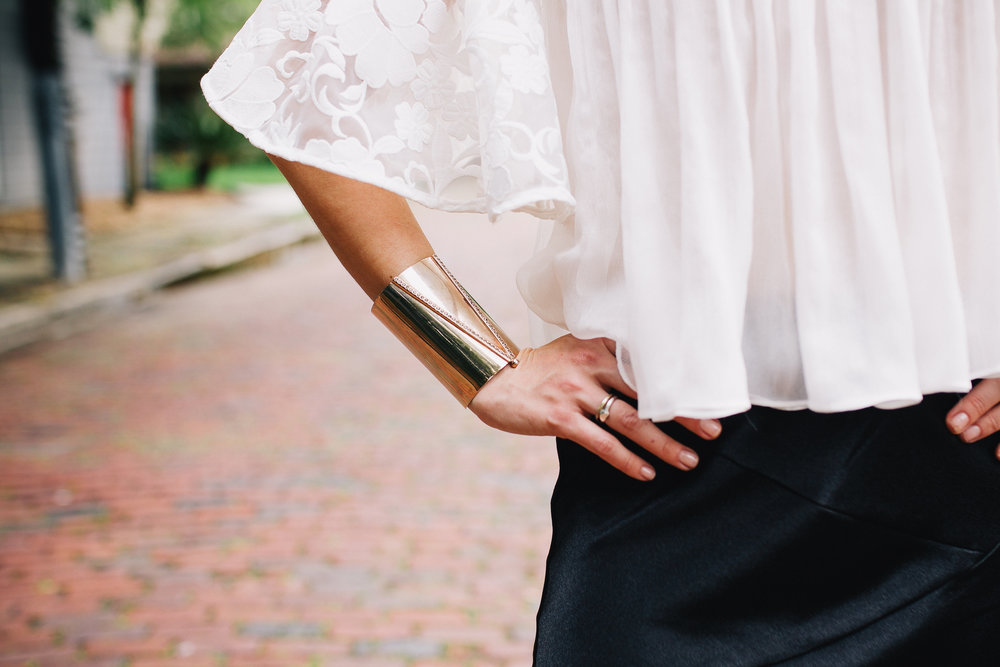 Alexis flared arm top and rose gold cuff