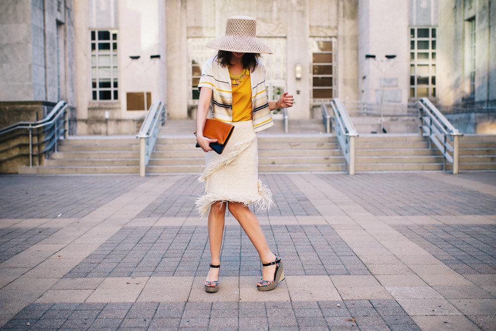 BCBG raffia fringe summer skirt