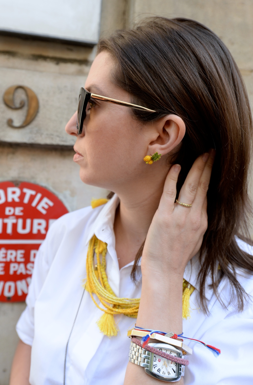 Les Néréides lemon earrings, yellow details