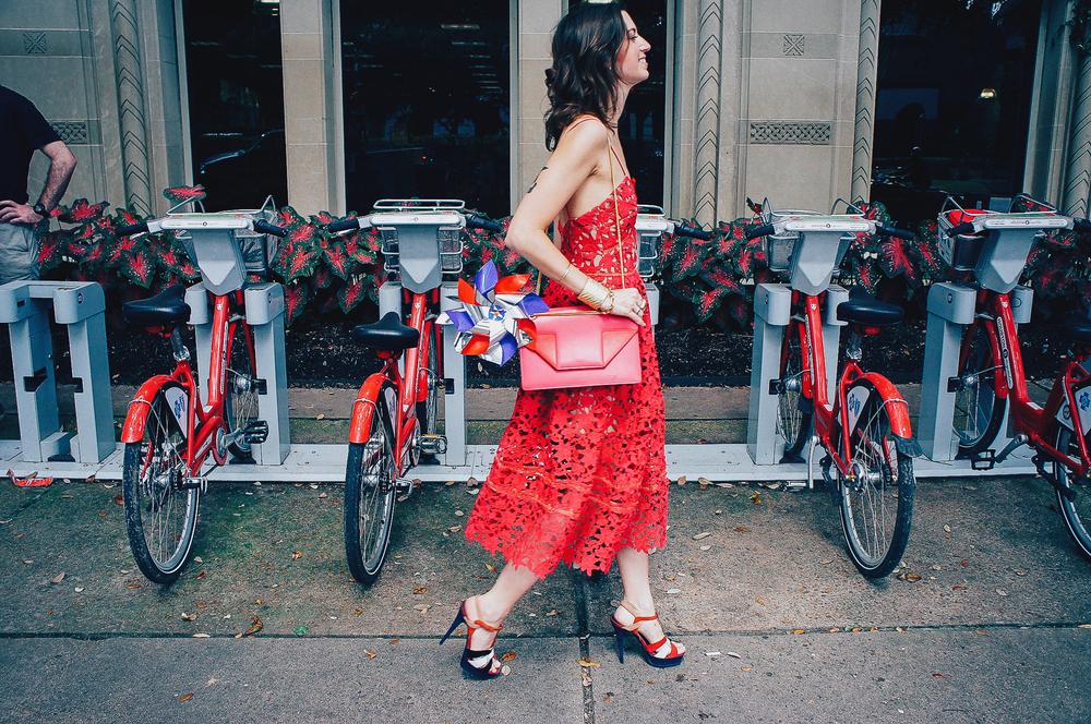 Self-Portrait lace slip red dress