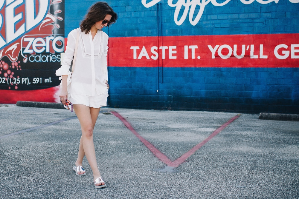 Peasant blouse and scalloped hem shorts in all white