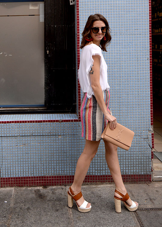 Sandro striped skirt and fringe top