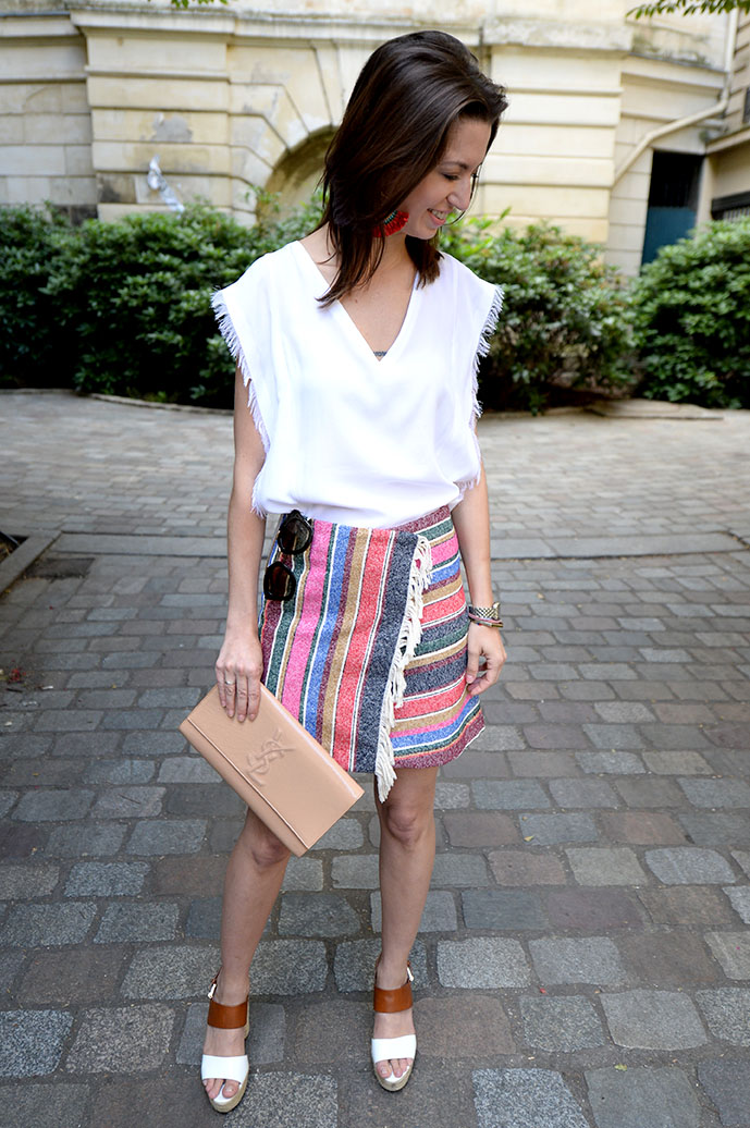 Sandro white fringe top and striped fringe skirt