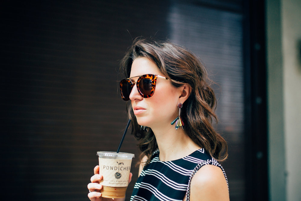 Details- Pixie Market gold bar sunglasses with Bimba Y Lola earrings