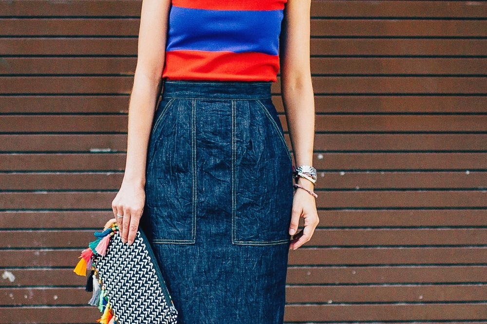 Tomas Maier denim pencil skirt