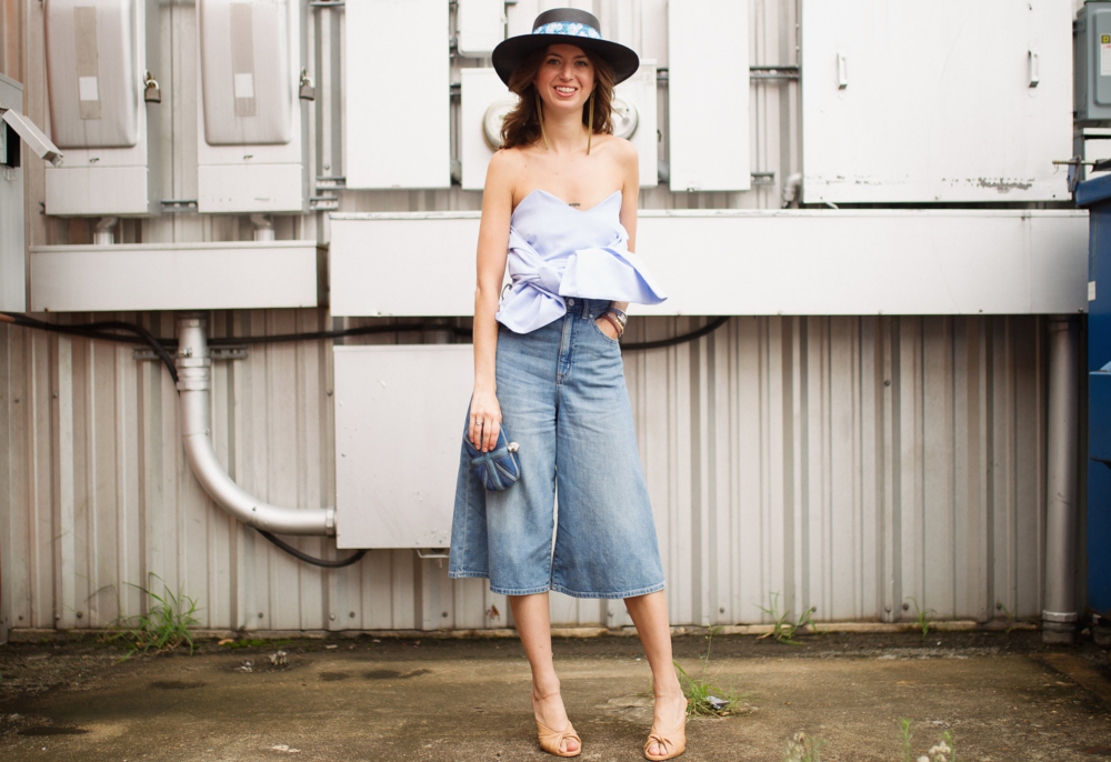 Denim culotte strapless top outfit