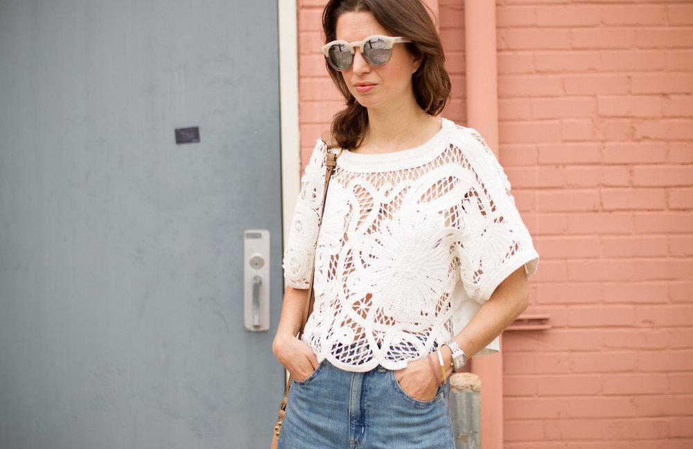 Tibi crochet top & Illevesta sunglasses - summer style