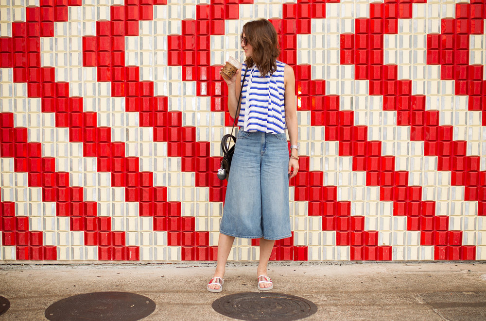 Striped cop top with denim culottes - summer style