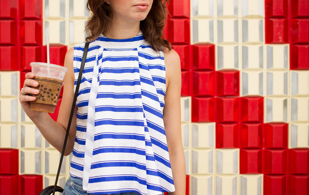 Blue and white striped crop top - summer style