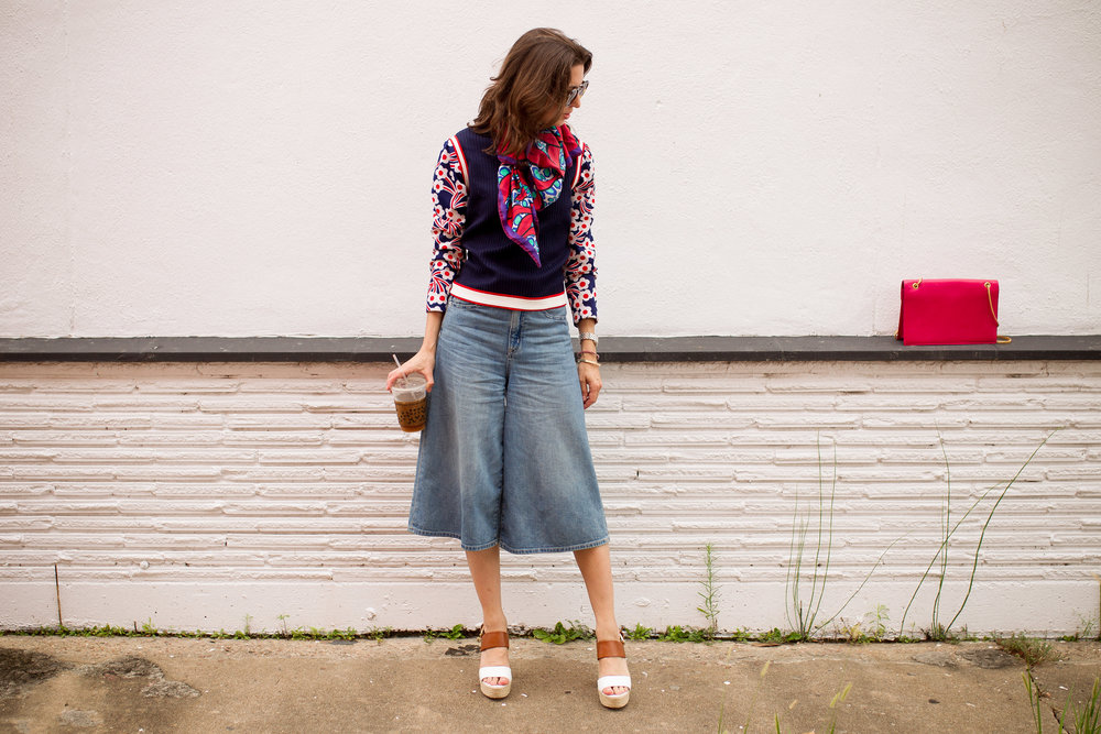 Denim culottes and sweater- prefall style