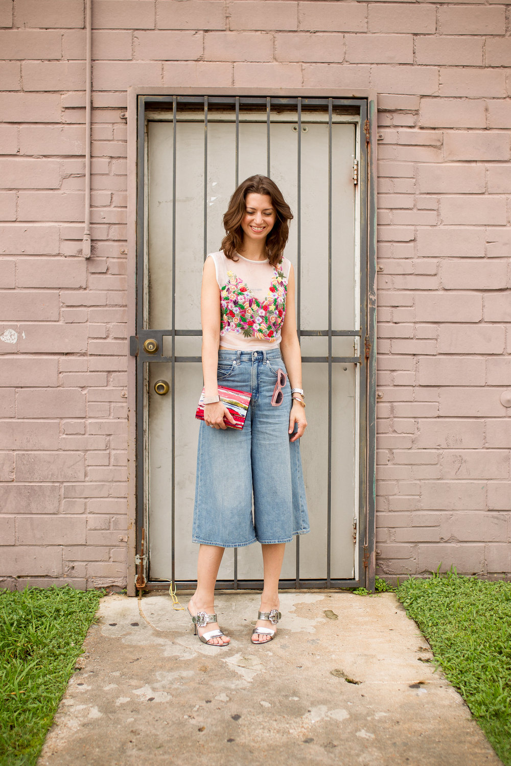 Beaded crop top and denim culotte - summer date night style