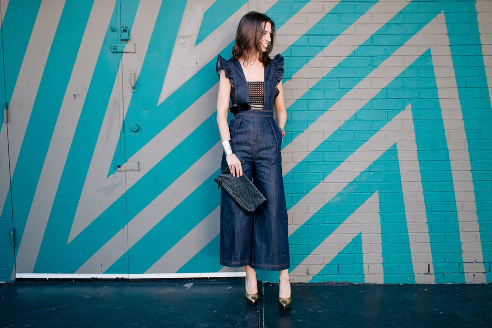 Self Self-Portrait denim culotte jumpsuit on The Shoe Diet