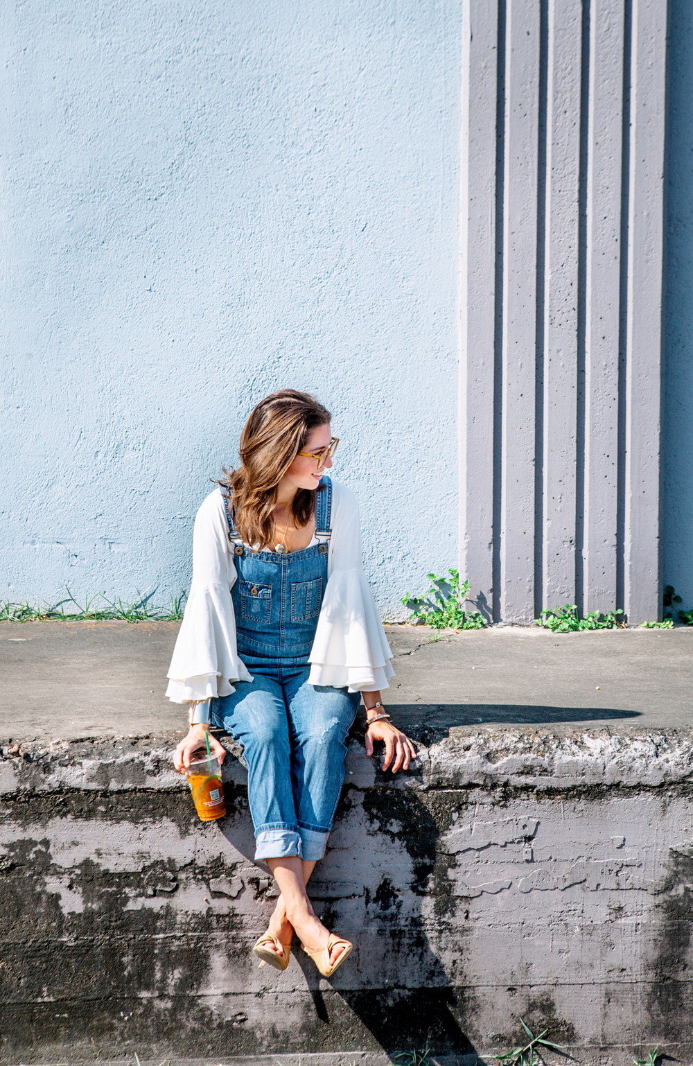 Overalls and bell sleeve top on The Shoe Diet