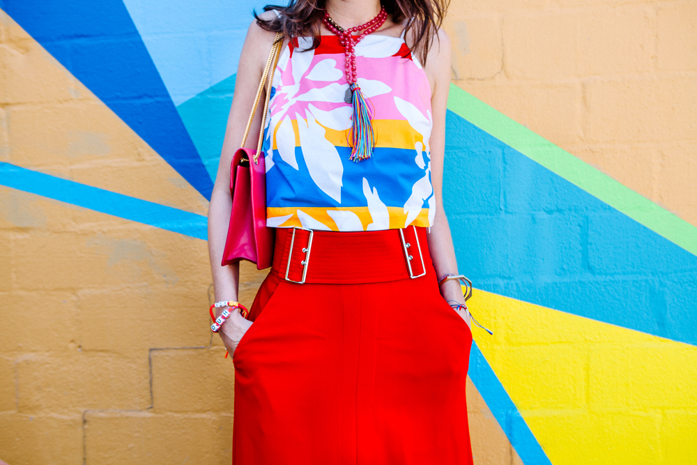 Elle Sasson tropical color blocked halter for end of summer '15 on The Shoe Diet