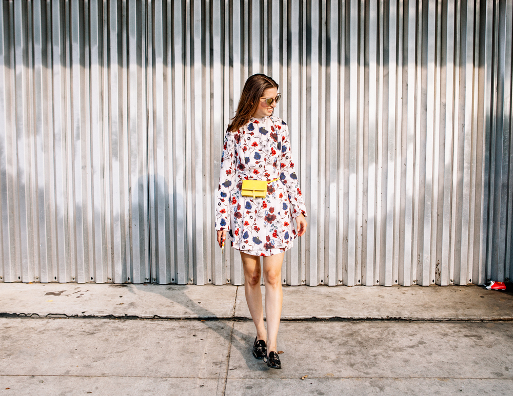 A.L.C. high neck floral dress on The Shoe Diet