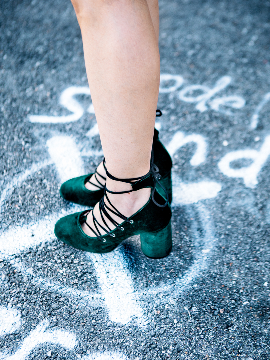 Topshop green velvet pumps on The Shoe Diet