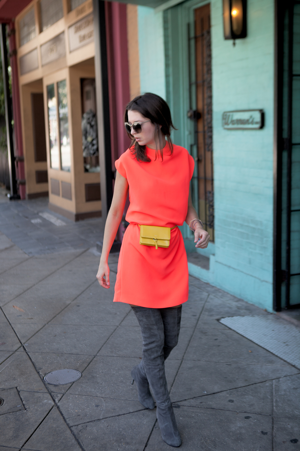 McQ neon cape dress for fall '15 on The Shoe Diet