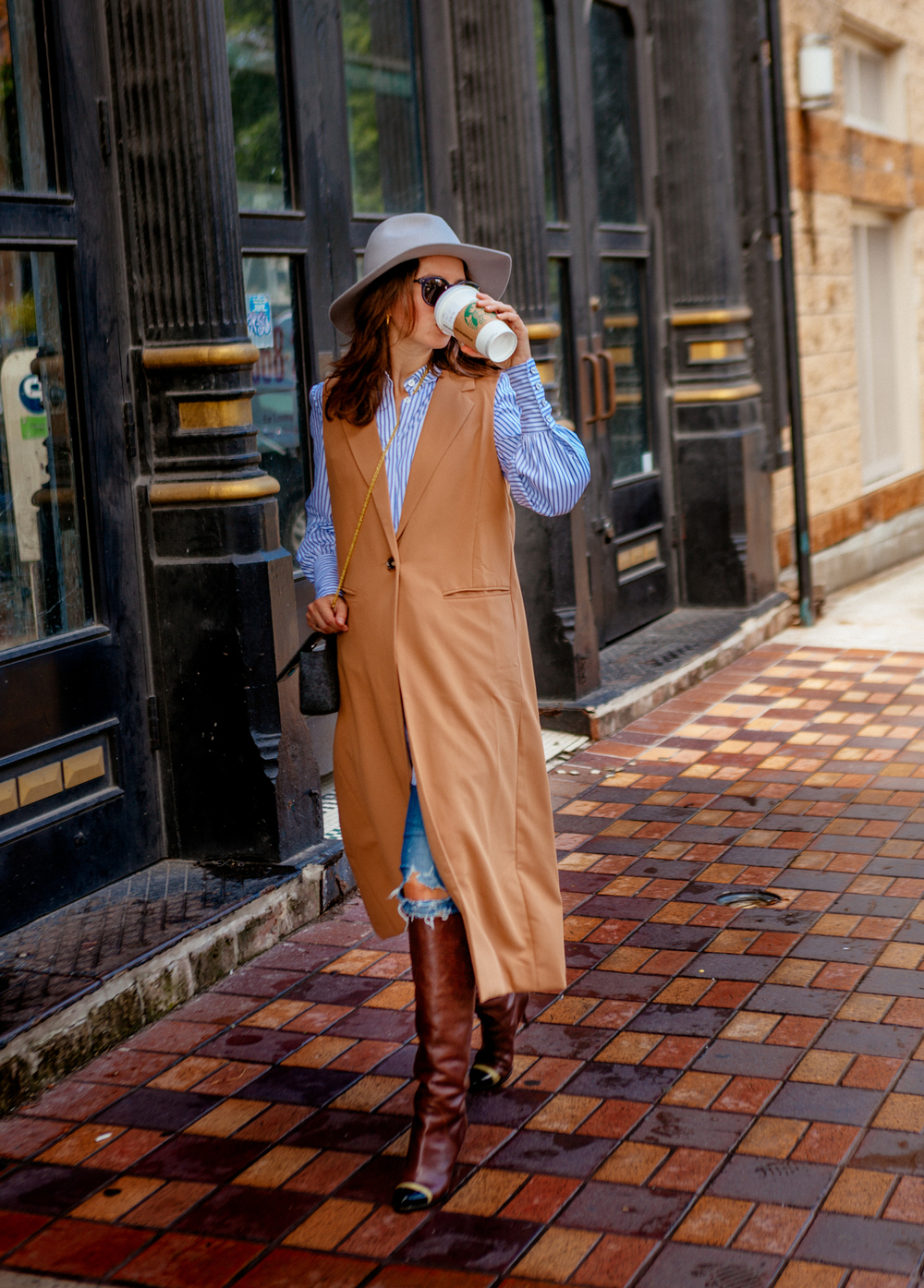 Long tunic camel vest for fall '15 on The Shoe Diet