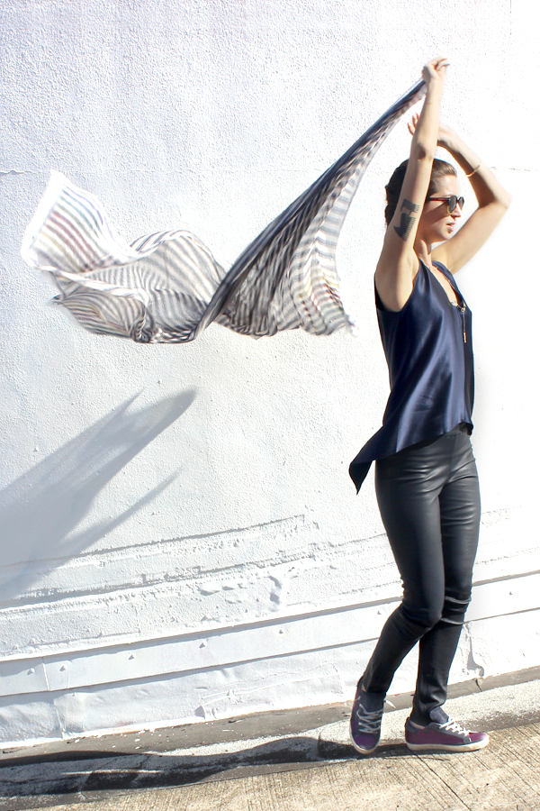 Tamar Mendelssohn The Shoe Diet navy leather leggings
