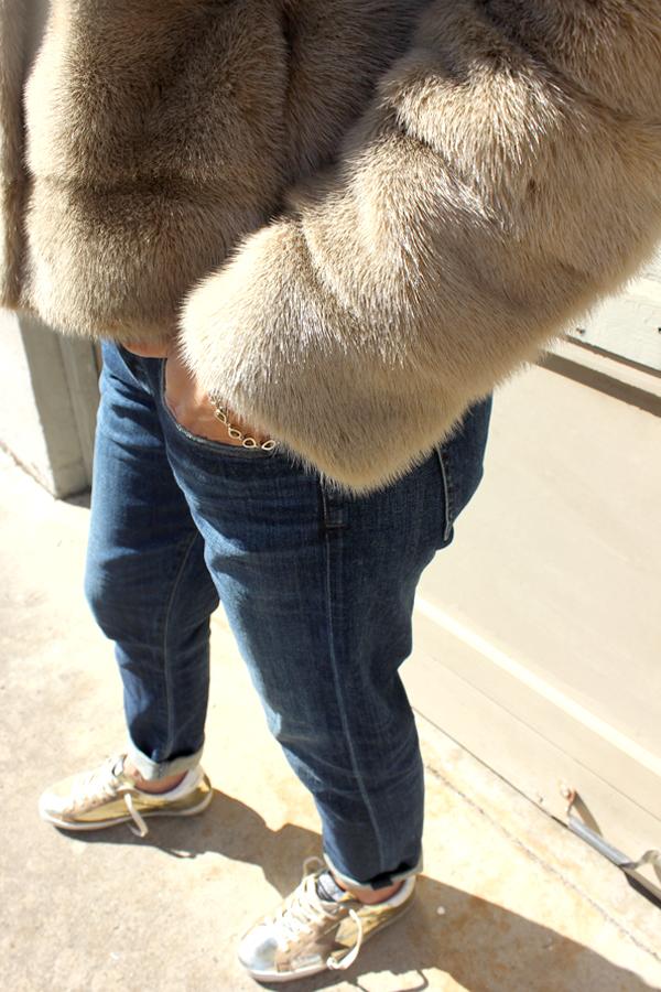 Tamar Mendelssohn the Shoe Diet mink jacket, boyfriend jeans Golden Goose