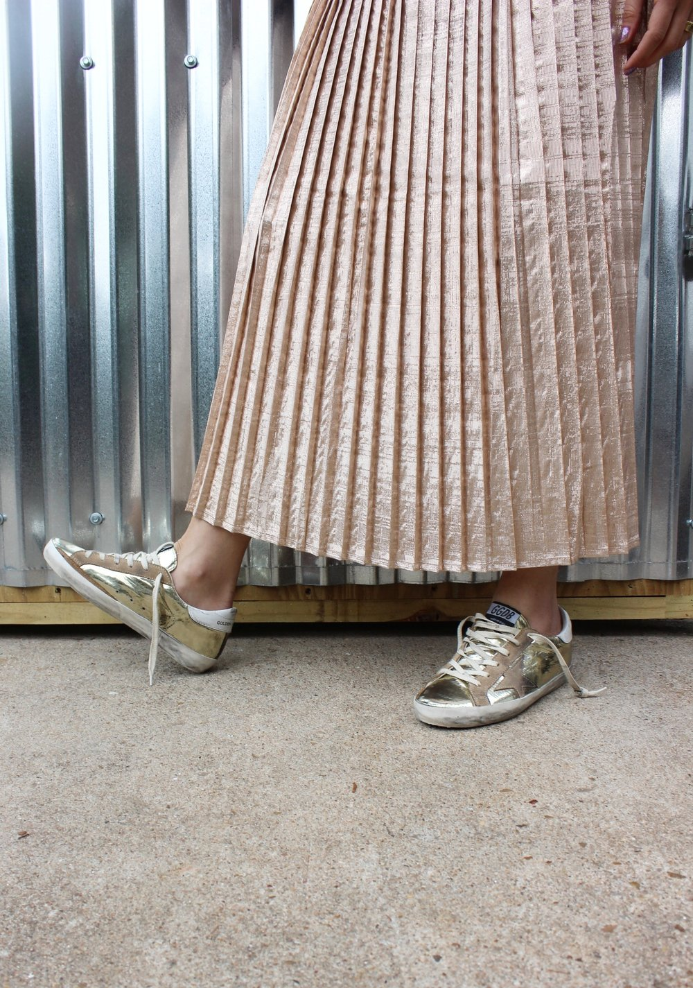 Tamar Mendelssohn The Shoe diet Polder metallic pleated skirt holiday '16
