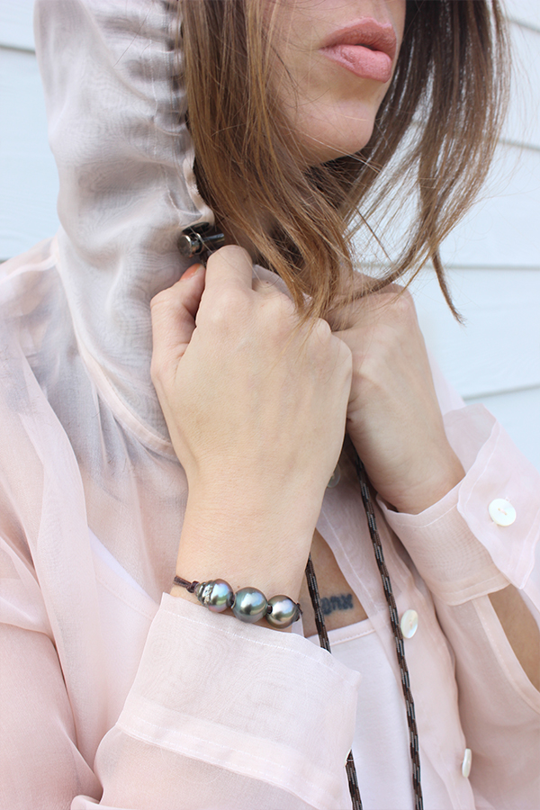 Tamar Mendelssohn The Shoe Diet pearl bracelet Inclan blush jacket