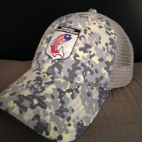 """$50.00 -  Custom OR2R Simms Fishing Products, """"Tidal Camo"""", adjustable snap back hat. 100% of the proceeds go back into the OR2R veterans non-profit organization."""