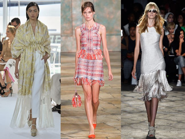 More is more this year.... With 70's trends standing strong, theres no surprise designers have jumped on this band wagon. While we've already seen fridge appearing on bags, skirts and kimonos, their putting this stuff on almost anything.