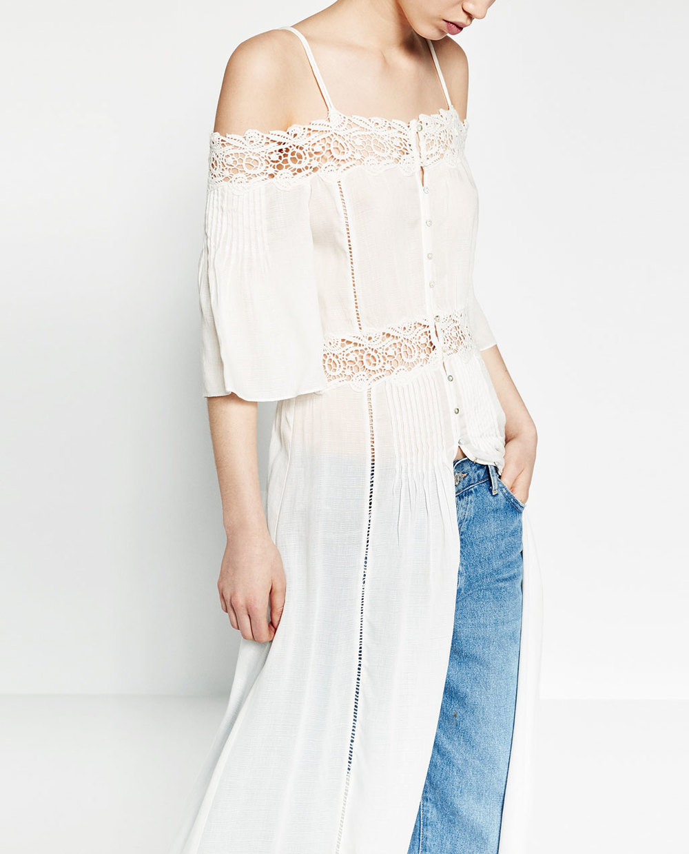 ZARA Off-The-Shoulder Robe Dress