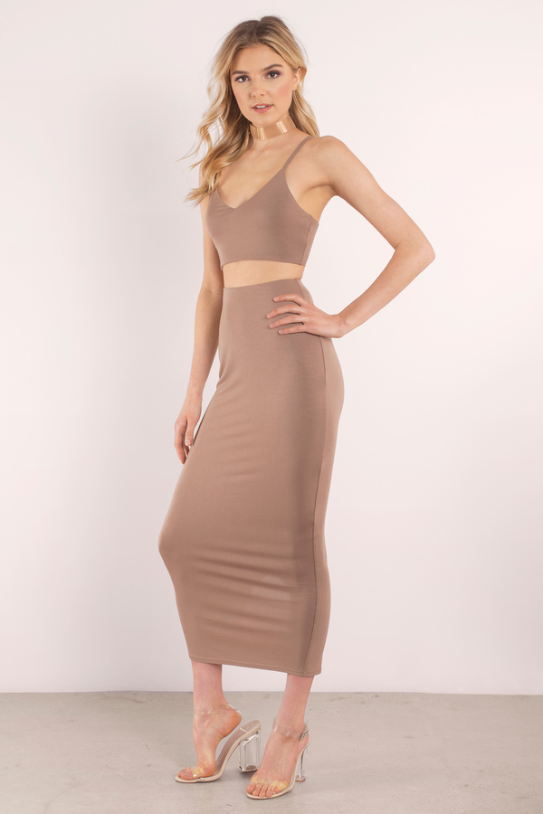 Be Honest Taupe Maxi Set